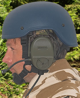 Bullet Proof (Ballistic) Helmet. This model is a military MACH Tyle contoured to allow use on communications equipment